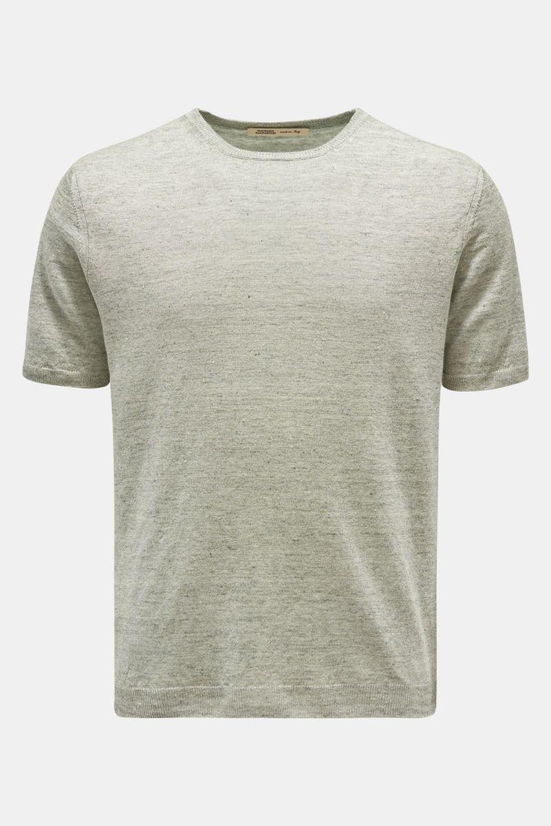 Leinen Kurzarm-Pullover graugrün
