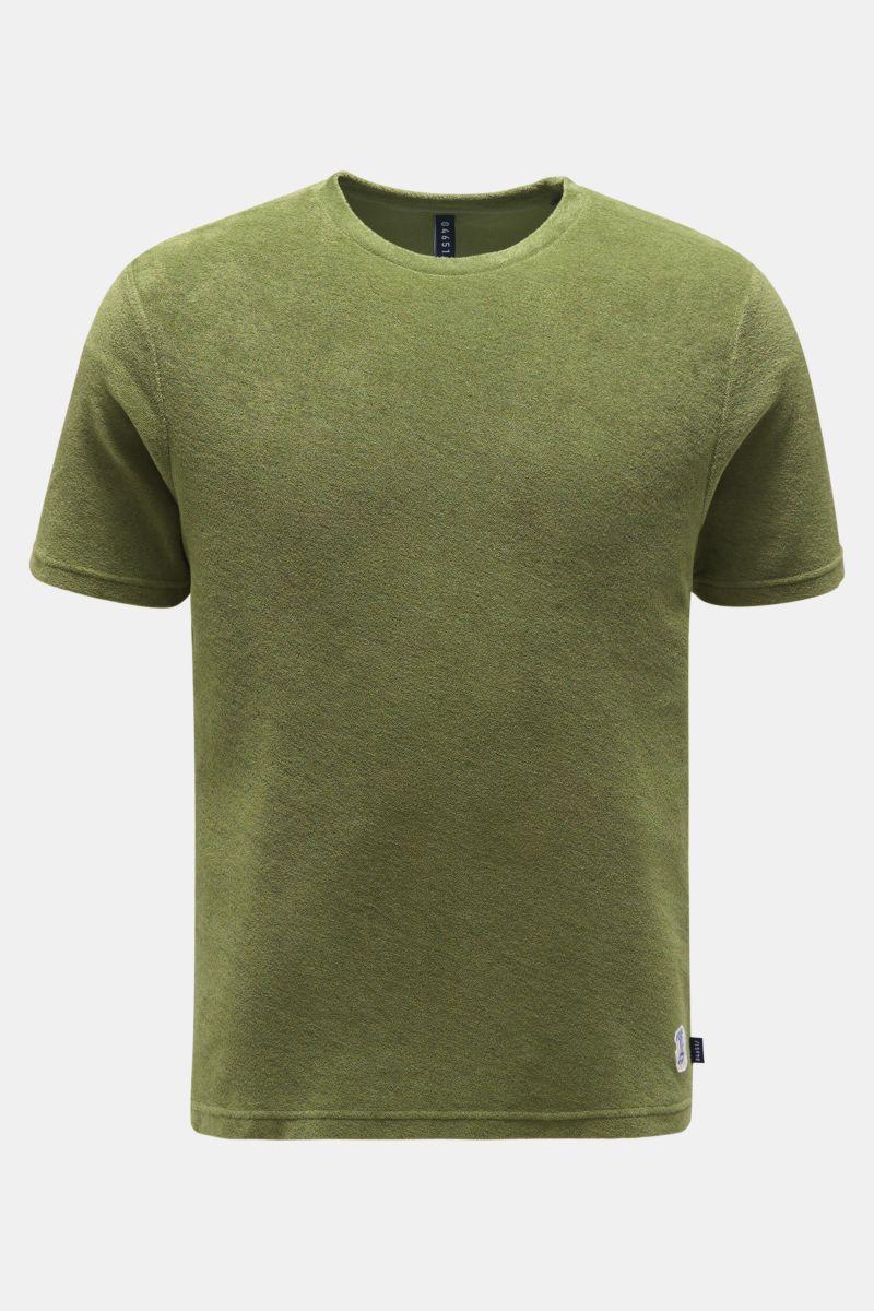 Frottee Rundhals-T-Shirt oliv