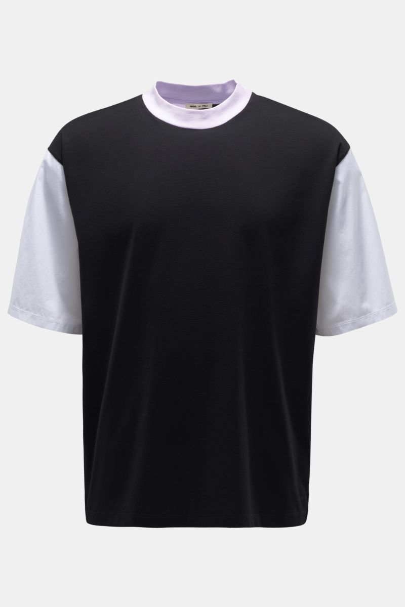 Rundhals-T-Shirt schwarz/violett/weiß