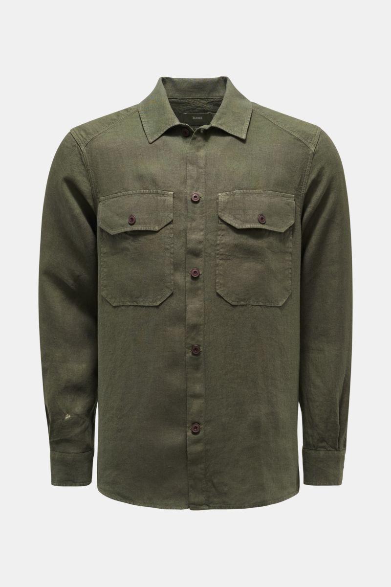 Leinen-Overshirt oliv
