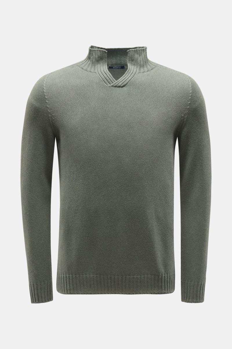 V-Neck Pullover graugrün