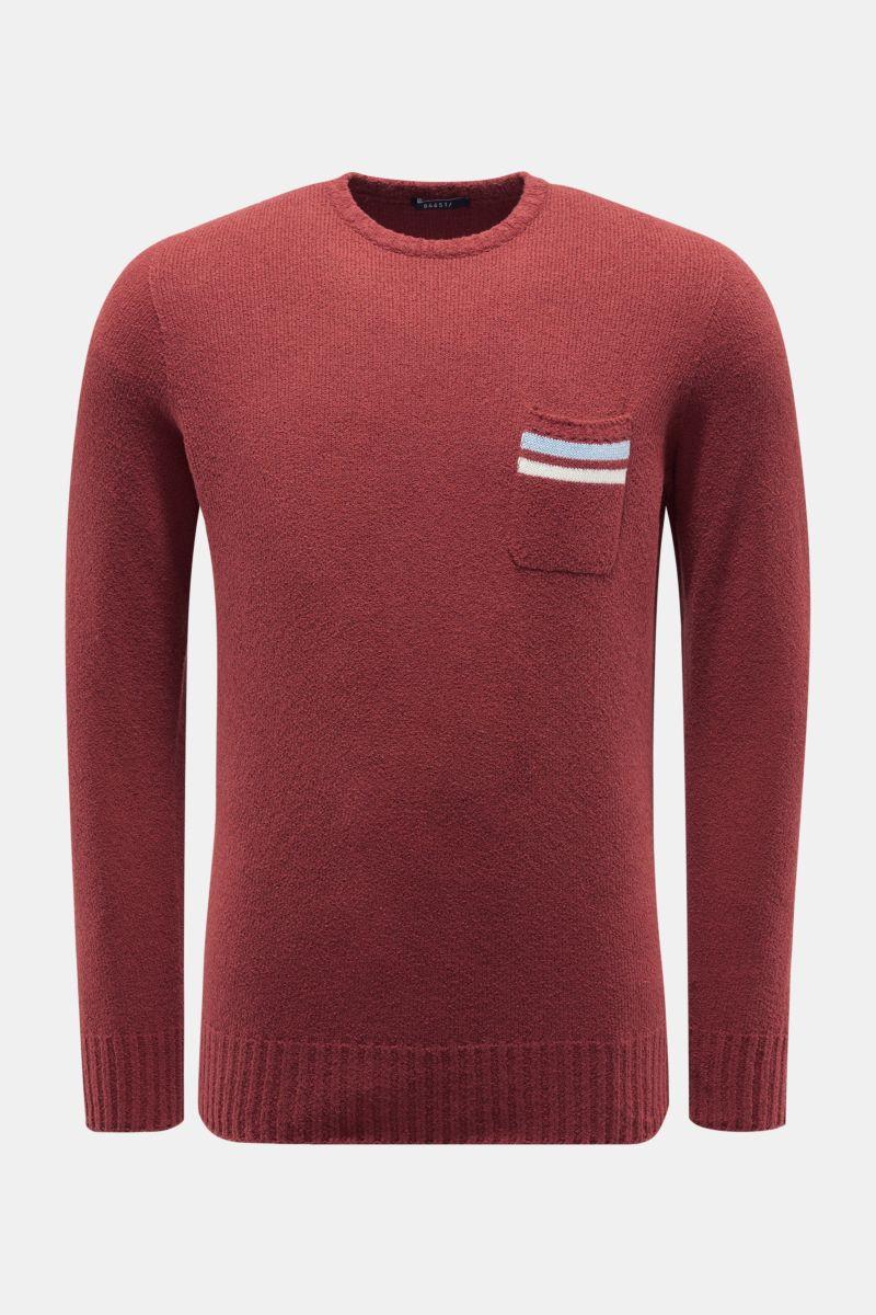 R-Neck Pullover dunkelrot