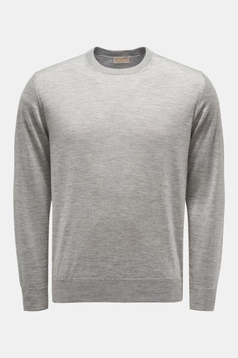 Feinstrick Rundhals-Pullover grau