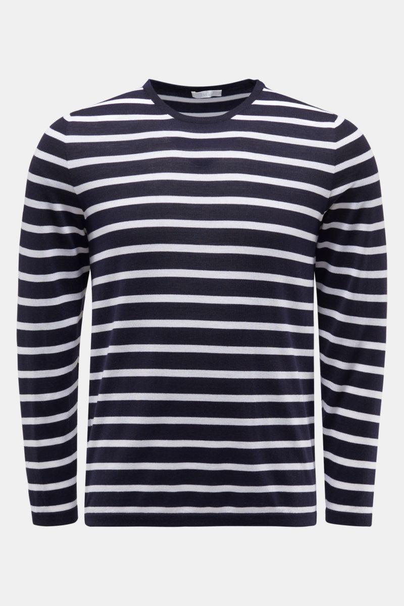 Feinstrick Rundhals-Pullover navy/weiß gestreift