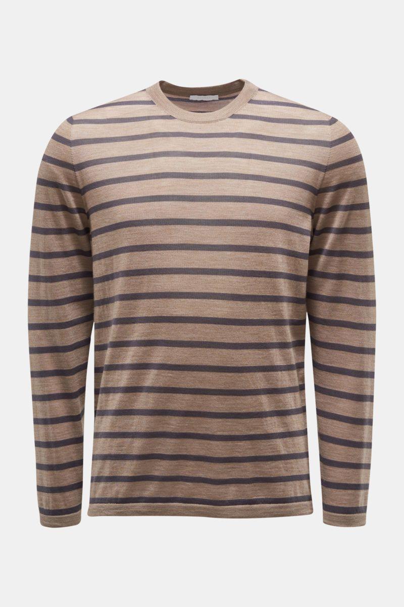 Feinstrick Rundhals-Pullover graubraun/anthrazit gestreift
