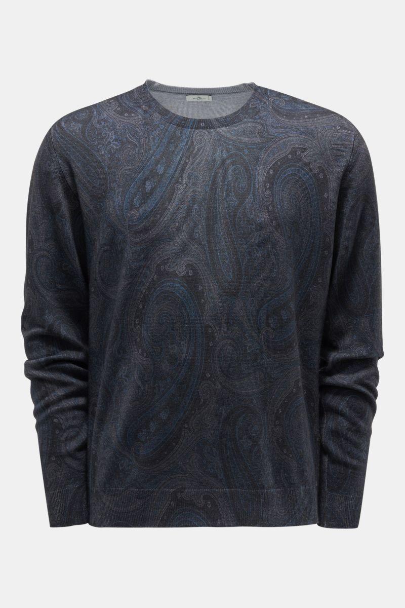 Rundhals-Pullover dunkelgrau/rauchblau gemustert
