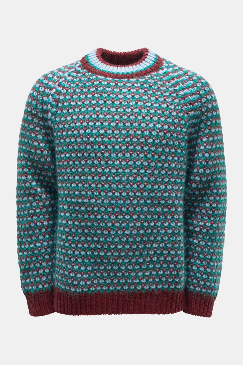 Rundhals-Pullover bordeaux/rauchblau/grün