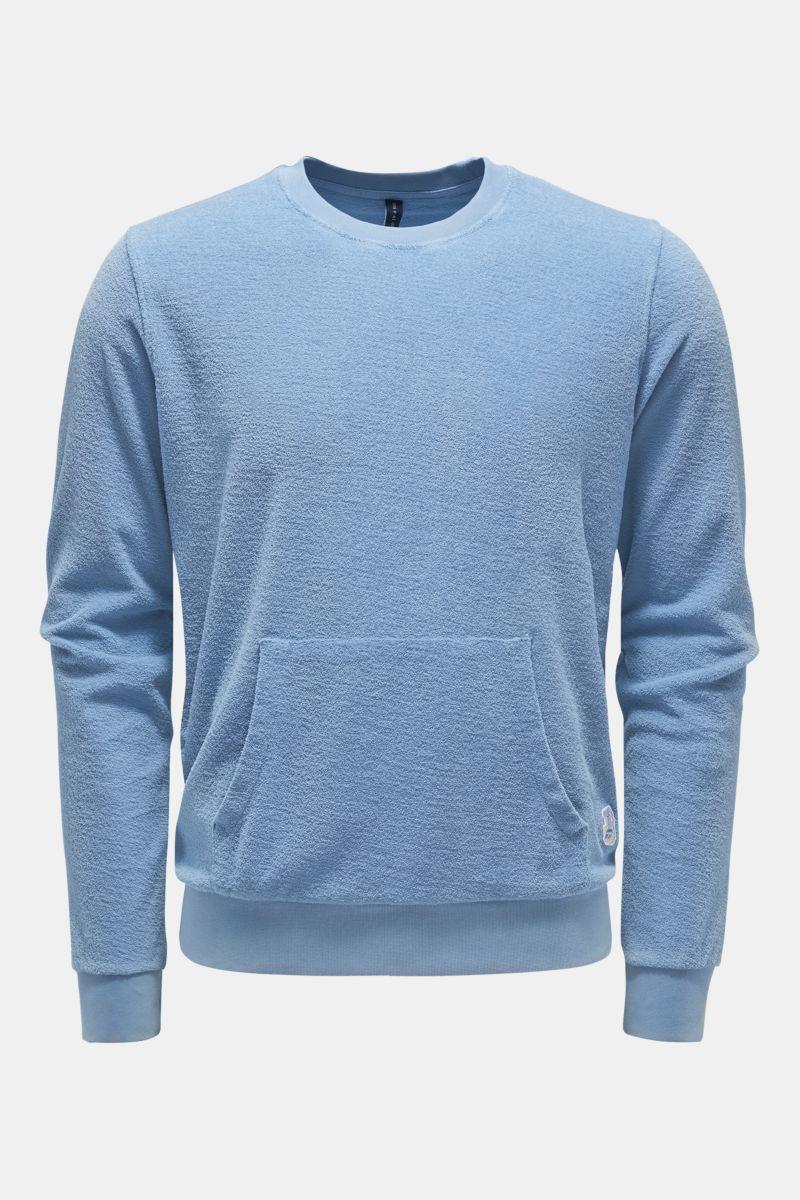 Frottee Rundhals-Sweatshirt 'Terry Crew' rauchblau